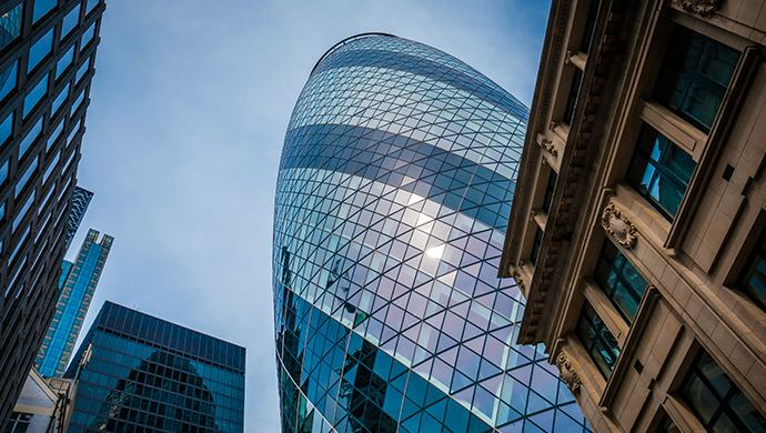 Image of the Gherkin in London - the venue of the Trustmarque and Forcepoint Cyber Security Breakfast Briefing
