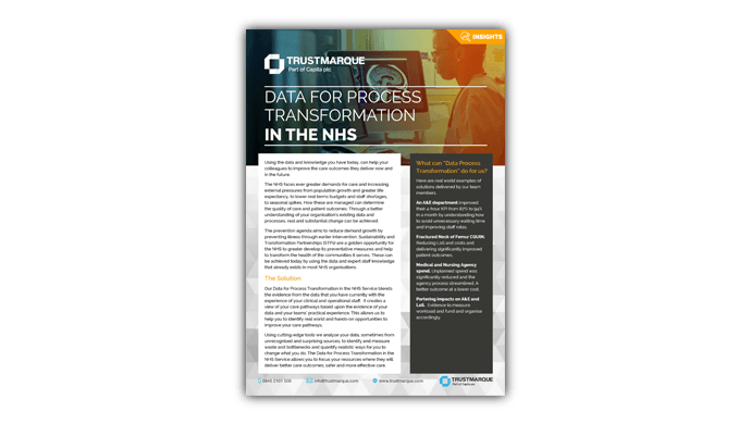 Data for process transformation in the NHS - datasheet