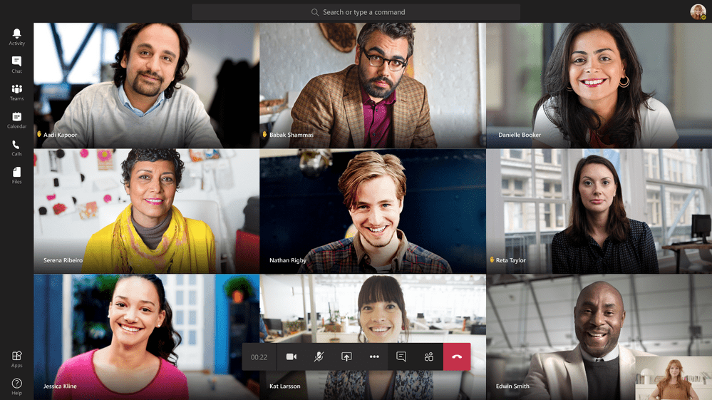 Microsoft Teams 9 person gallery view